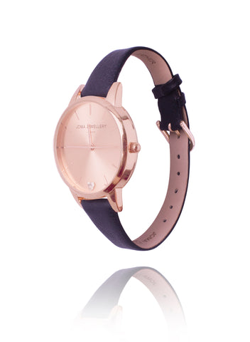 Joma Jewellery Lexi Rose Gold Watch With Leather Strap - Violetmai Jewellery and Gifts