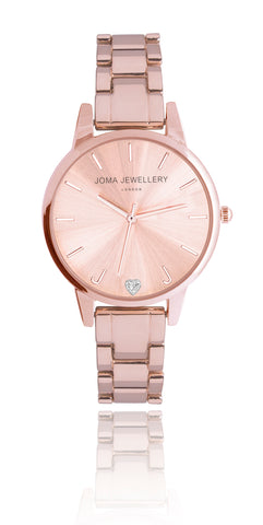 Joma Jewellery Piper Rose Gold Watch With Metal Strap - Violetmai Jewellery and Gifts