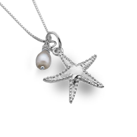 Pure Origins Sterling Silver Starfish And Pearl Necklace