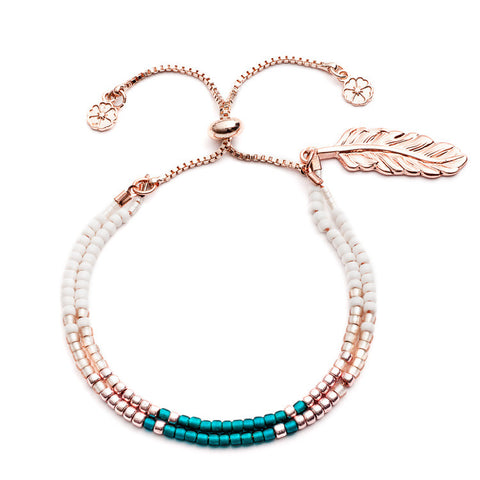 Azuni Apache Plume Bracelet in Turquoise and Rose Gold - Violetmai Jewellery and Gifts