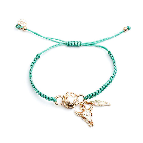 Azuni  Peyote bracelet in teal and gold - Violetmai Jewellery and Gifts
