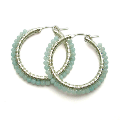 Viv And Ingrid Amazonite Hoops - VIOLETMAI - 1