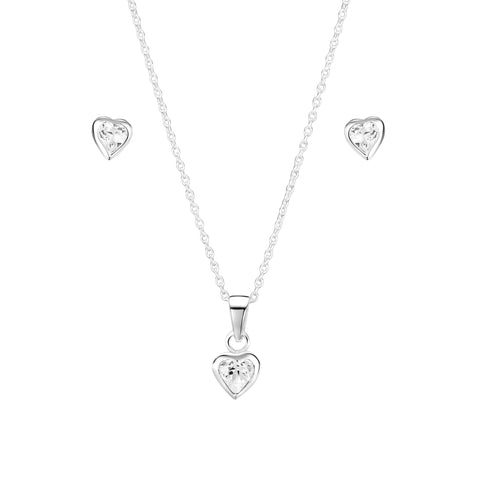 Jo for Girls  Sterling Silver and Swarovksi Heart pendants with silver chain - Violetmai Jewellery and Gifts