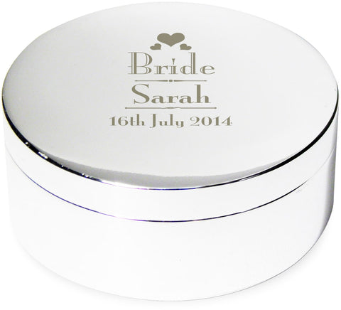 Personalised Decorative Wedding Role Round Trinket Box - VIOLETMAI - 1
