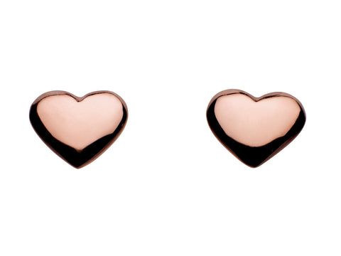 Dew  Sterling Silver Rose Gold Vermeil Heart Studs - Violetmai Jewellery and Gifts