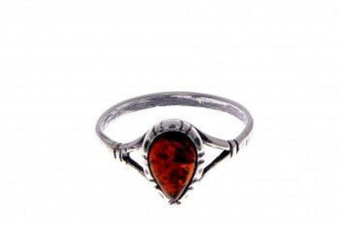 Patterned Teardrop Amber Ring - VIOLETMAI - 1