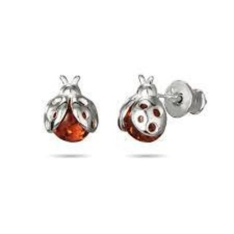 Amber Ladybird Studs - Violetmai Jewellery and Gifts