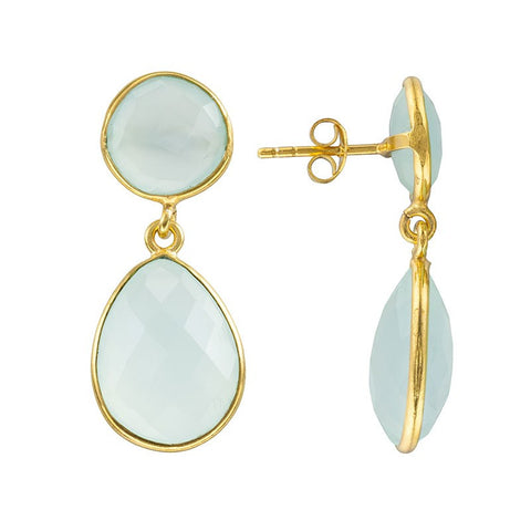 Anya Two gemstone Stone Earrings in Aqua Chalcedony - Violetmai Jewellery and Gifts