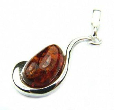 Amber and Silver Swirl Pendant - Violetmai Jewellery and Gifts