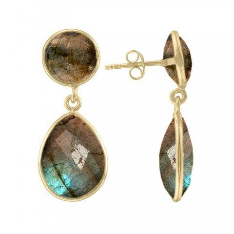 Anya Two gemstone Stone Earrings in Labradorite - Violetmai Jewellery and Gifts