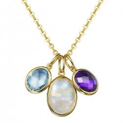 Trio Gemstone Necklace by Meencanta