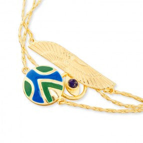 Azuni Amara Three strand charm bracelet with Lapis - Violetmai Jewellery and Gifts