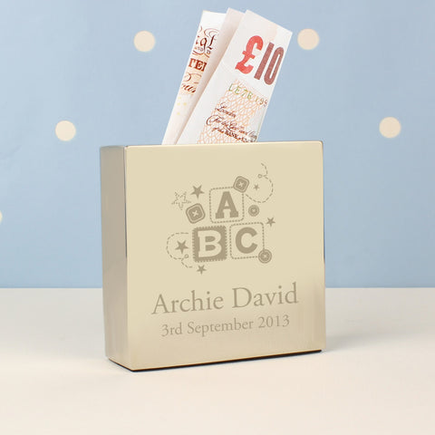 Personalised Engraved ABC Square Money Box - VIOLETMAI