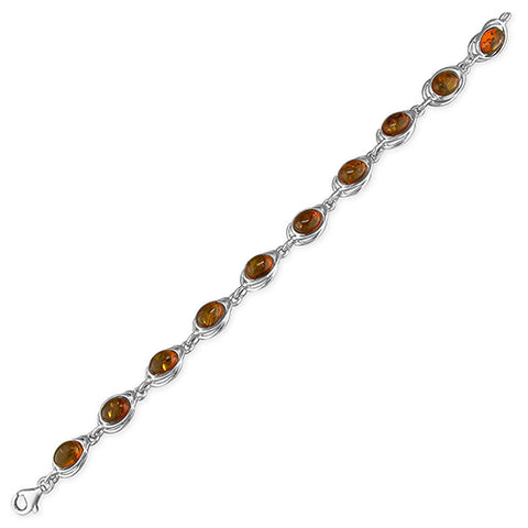 Amber Cognac Looped Oval Bracelet - Violetmai Jewellery and Gifts