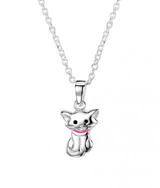 Jo for girls Sterling Silver cat pendant - Violetmai Jewellery and Gifts