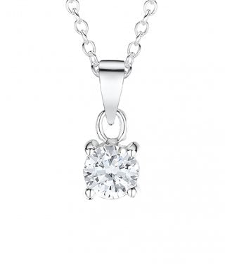 Jo for girls Sterling Silver simple CZ pendant - Violetmai Jewellery and Gifts