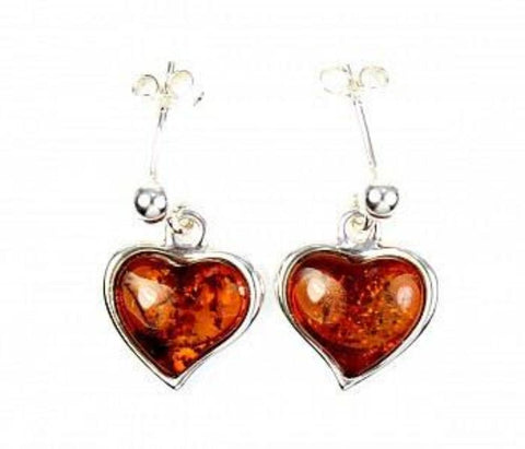 Amber Heart Drop Earrings - Violetmai Jewellery and Gifts