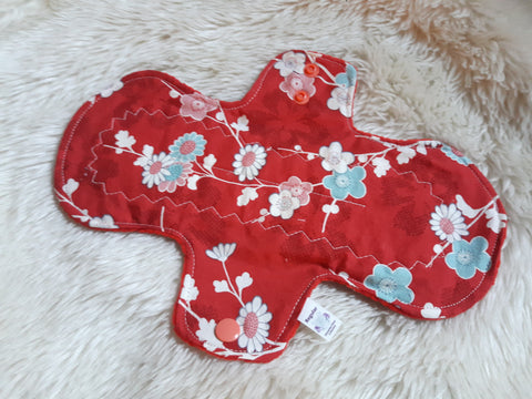 Red Teal Flowers Cloth Menstrual Pad