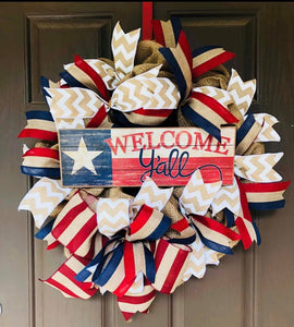 Welcome Y'all Patriotic  Wreath