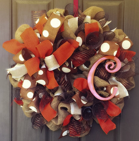 Initial Fall Wreath - Destined with Creativity