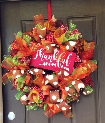 Thankful Thanksgiving wreath - Destined with Creativity