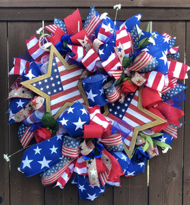 "28"" 2 Star Patriotic Wreath"