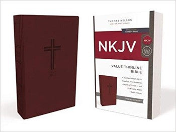 NKJV Comfort Print Value Thinline Bible - Burgundy Leathersoft