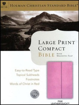 HCSB Large Print Compact Bible - Pink with Magnetic Flap