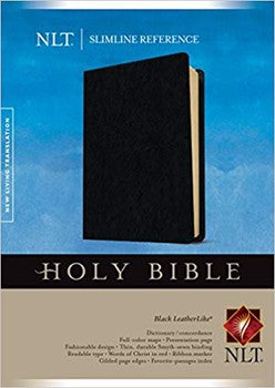 NLT Slimline Reference Bible - Black Leatherlike