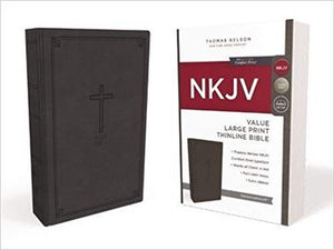 NKJV Large Print Value Thinline Bible - Black LeatherSoft