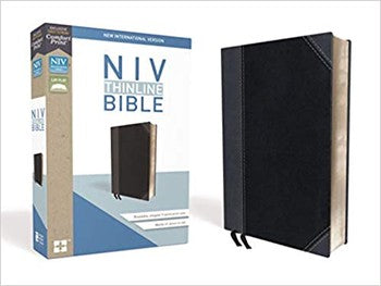 NIV Comfort Print Thinline Bible - Black/Gray Leathersoft