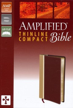 Amplified Thinline Compact Bible - Tan/Burgundy