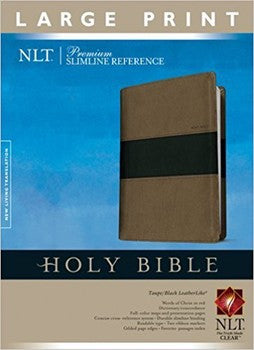 NLT Large Print Slimline Reference Bible - TuTone Brown