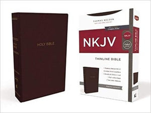 NKJV Comfort Print Thinline Bible - Burgundy Leathersoft