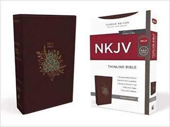 NKJV Comfort Print Thinline Bible - Burgundy