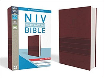 NIV Comfort Large Print Value Thinline Bible - Burgundy Leathersoft
