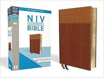 NIV Comfort Print Thinline Bible - Tan LeatherSoft