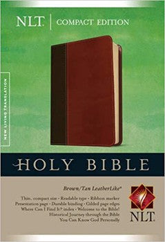 NLT Compact Bible - Brown/Tan LeatherLike