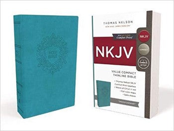 NKJV Comfort Print Value Compact Thinline Bible - Turquoise Leathersoft