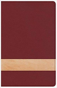 CSB Large Print Reference Bible - Crimson/Tan LeatherTouch