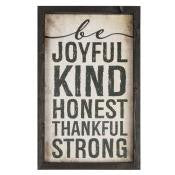 Framed Wall Art - Be Joyful Kind Honest Thankful Strong
