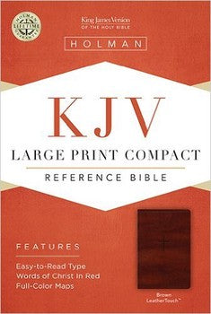 KJV Large Print Compact Reference Bible - Brown LeatherTouch