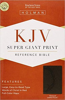 KJV Super Giant Print Reference Bible - Charcoal LeatherTouch