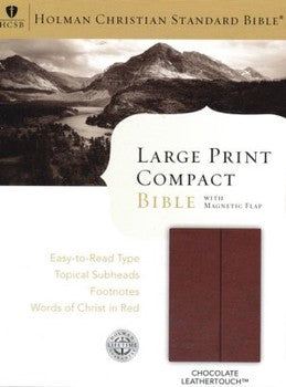 HCSB Large Print Compact Bible - Brown with Magnetic Flap