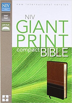 NIV Giant Print Compact Bible - Brown/Black Leathersoft