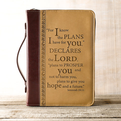 """I KNOW THE PLANS"" TWO-TONE BIBLE COVER IN TAN"