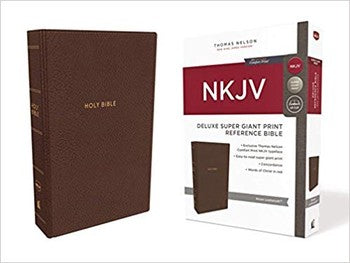 NKJV Super Giant Print Deluxe Reference Bible - Brown