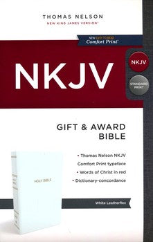 NKJV Gift & Award Bible - White LeatherTouch