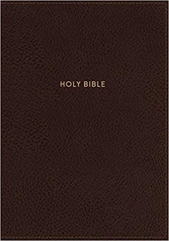 NKJV Giant Print Center-Column Reference Bible - Brown LeatherSoft