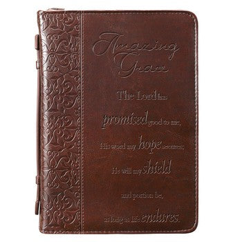 Bible Cover - Amazing Grace Brown